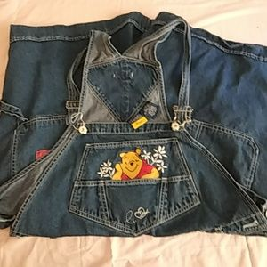 22W Pooh embroidered short-overalls